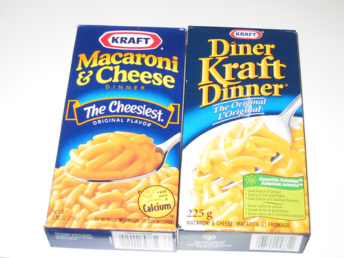 Kraft Dinner Canadian and American boxes