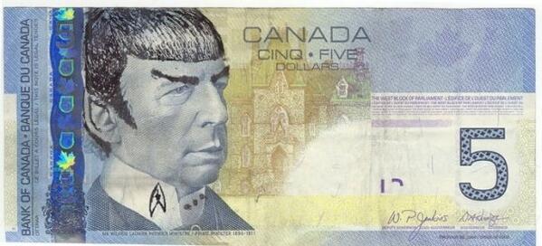 Spock Canadian Five Dollar Bill