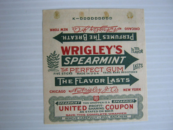 Wrigleys Gum Wrapper