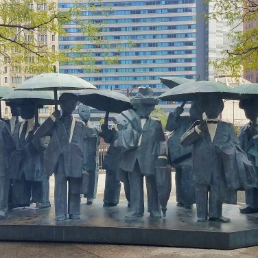 The Gentlemen Sculpture downtown Chicago Sept 25 2018